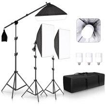 Profesjonalne zdjęcia Studio Softbox światła ciągłe oświetlenie zestaw akcesoria sprzęt z 3 sztuk miękkie pudełko, żarówka LED, stojak trójnóg
