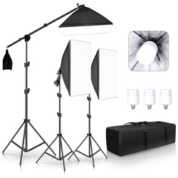 Professionele Fotostudio Softbox Verlichting Continue Verlichting Kit Accessoires Apparatuur Met 3Pcs Soft Box, Led Blub, tripod Stand