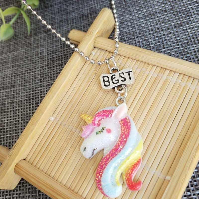 2 Pcs/set Unicorn Liontin Kalung Anak Teman Terbaik Persahabatan Perhiasan Rantai Kalung