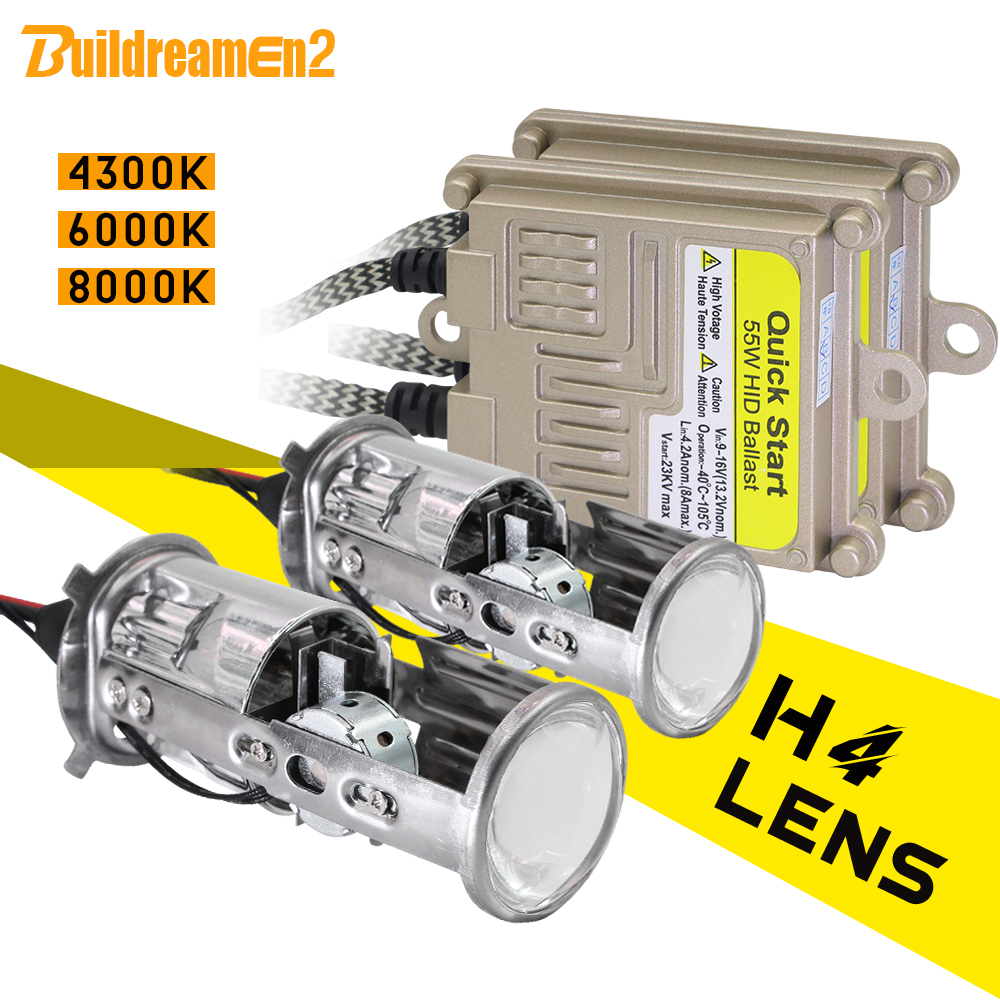 Buildreamen2 H4 Headlight Mini Projector Lens Hi/Lo Bi-Xenon HID Xenon Light Kit AC Ballast 55W 4300K 6000K 8000K Car Headlamp