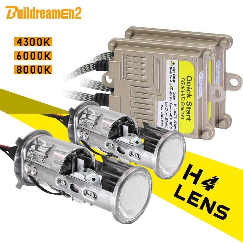 Buildreamen2 H4 Headlight Mini Projector Lens Hi/Lo Bi-Xenon HID Xenon Light Kit AC Ballast 55W 4300K 6000K 8000K Car Headlamp