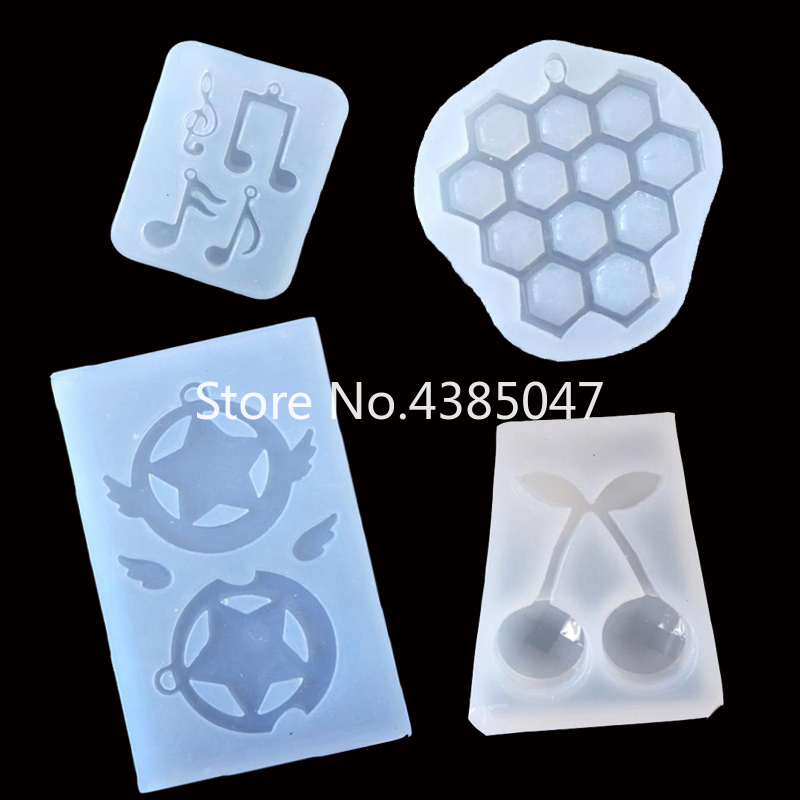 1PC Grape Music Note Star Cherry Pendant DIY Silicone Mold Dried Flower Jewelry Accessories Tools Equipments Resin Molds