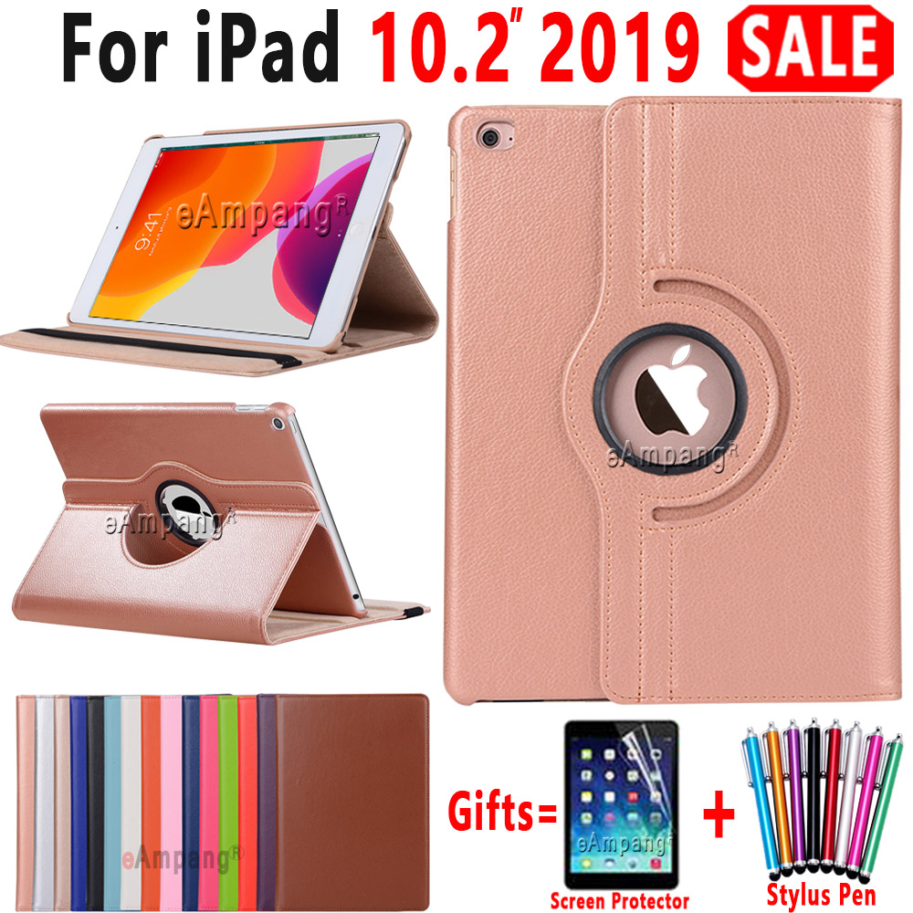 Smart Case For IPad 10.2 2019 Case Cover For Apple IPad 7 7th Generation A2200 A2198  A2197 Funda 360 Degree Rotating Leather
