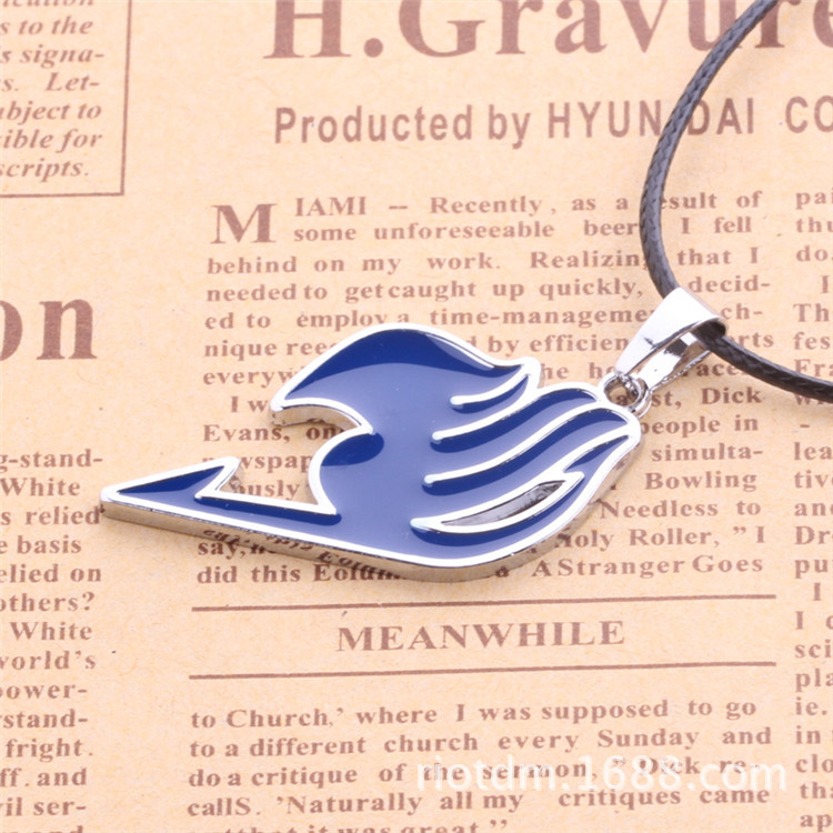 Anime Peripheral Fairy Tail Logo Necklace Red And Blue Black Pink Alloy Cool Necklace