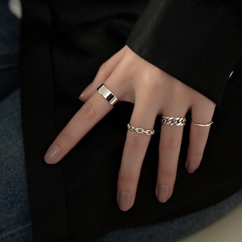 XIYANIKE 925 en argent Sterling coréen large mince chaîne anneau femelle INS Simple à la main ouverture Index doigt mode bijoux Couple 4