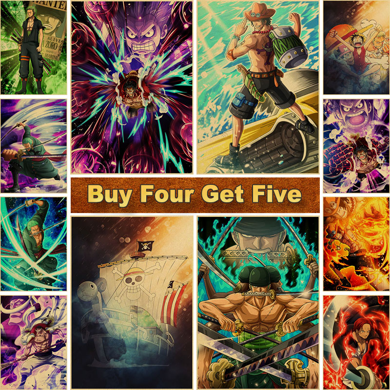Luffy Straw Hat Pirate ONE PIECE Anime Posters Kraft Paper Vintage Poster Art Wall Paintings for Home Bar Bedroom Decor