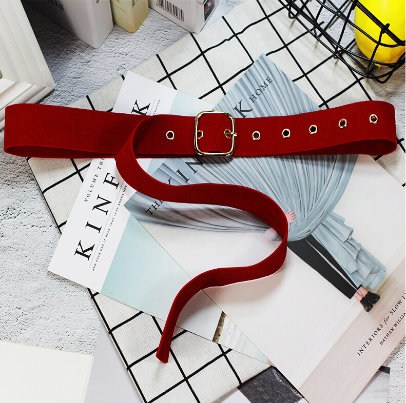 Long Velvet Belt Fabric Dress Belts Woman Knot Black Waist Red Gold Square Buckle Decorate Coat Sweater Belt Waist Seal Tide