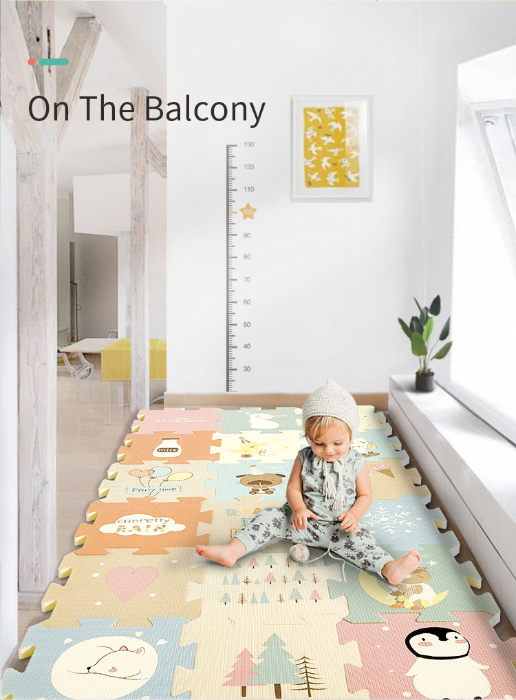 H7ae81df9ea5d49e8aba52df565916a685 BabyGo 9pcs Baby Puzzle Play Mat XPE Foam Waterproof 82*82*2cm Thickened Children'S Crawling Pad Living Room Activity Floor Mat