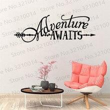 Adventure Vinyl Lettering with Arrow BATTOO Adventure Awaits Wall  Vinyl Decor Living Room Wallpaper PW489 недорого
