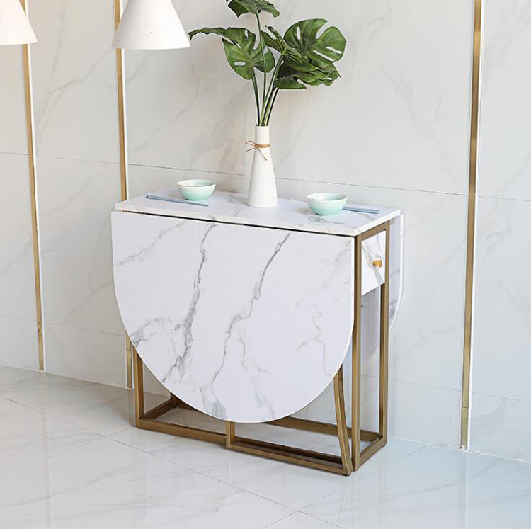 Oval Folding Dining Table Marble Pattern Table Living Room Home Furniture Gold Iron Frame MDF Table Top Length 150cm