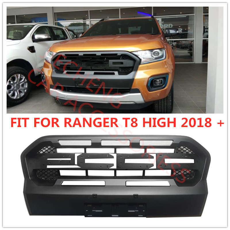 MATTE BLACK EXTERIOR AUTO MODIFIED MESH MASK GRILLE COVER ABS LED GRILL GRILLS FIT FOR 2019 RANGER T8 HIGH WILDTRAK XTL