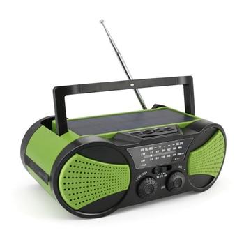 Portable LED Flashlight Camping Hand Crank Travel AM FM Outdoor Emergency Power Bank Weather Radio Solar Powered Multifunctional