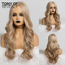 ארוך גלי תסרוקת סינטטי פאות אמצע חלק בלונד טבעי שיער פאות לנשים אפרו קוספליי פאות חום סיבים עמידים