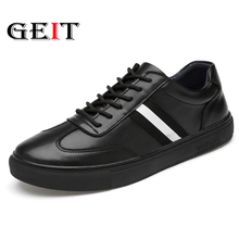 2019 New Leather Casual Shoes Men Vintage Fashion Flats Lace-up Moccasins Chaussure Homme