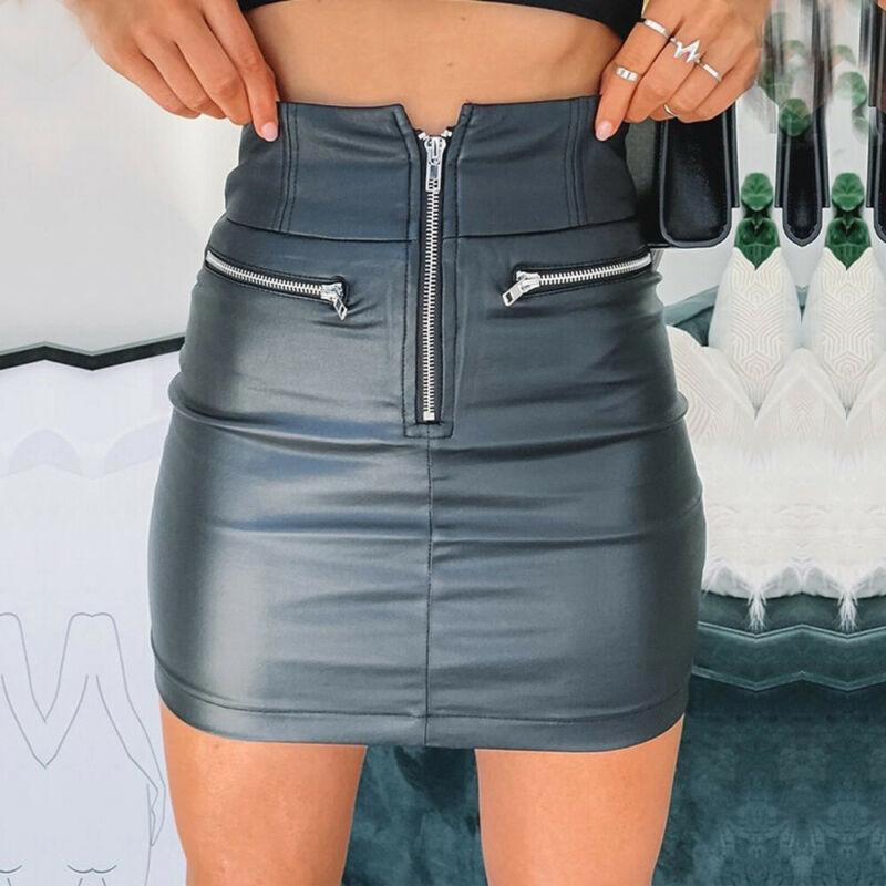 Brand New Womens PU Leather Zipper Skirt High Waist Pencil Bodycon Short Mini Skirt Ladies Stretch Business Party Clubwear
