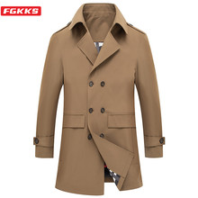 FGKKS Brand Men Mid-Length Trench Coats 2020 New Men's Business Fashion Turn-Down Collar British Style Slim Male