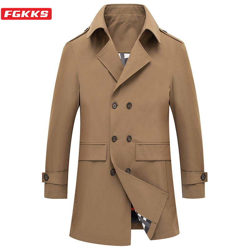 FGKKS Brand Men Mid-Length   Trench   Coats 2020 New Men's Business Fashion   Trench   Turn-Down Collar British Style Slim   Trench   Male