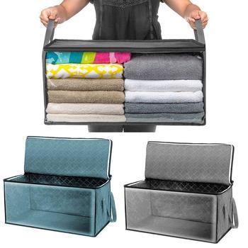 2 pcs clothes storage box non-woven fabric folding quilt clothes organizer dust-proof moisture-proof reinforced хранение вещей