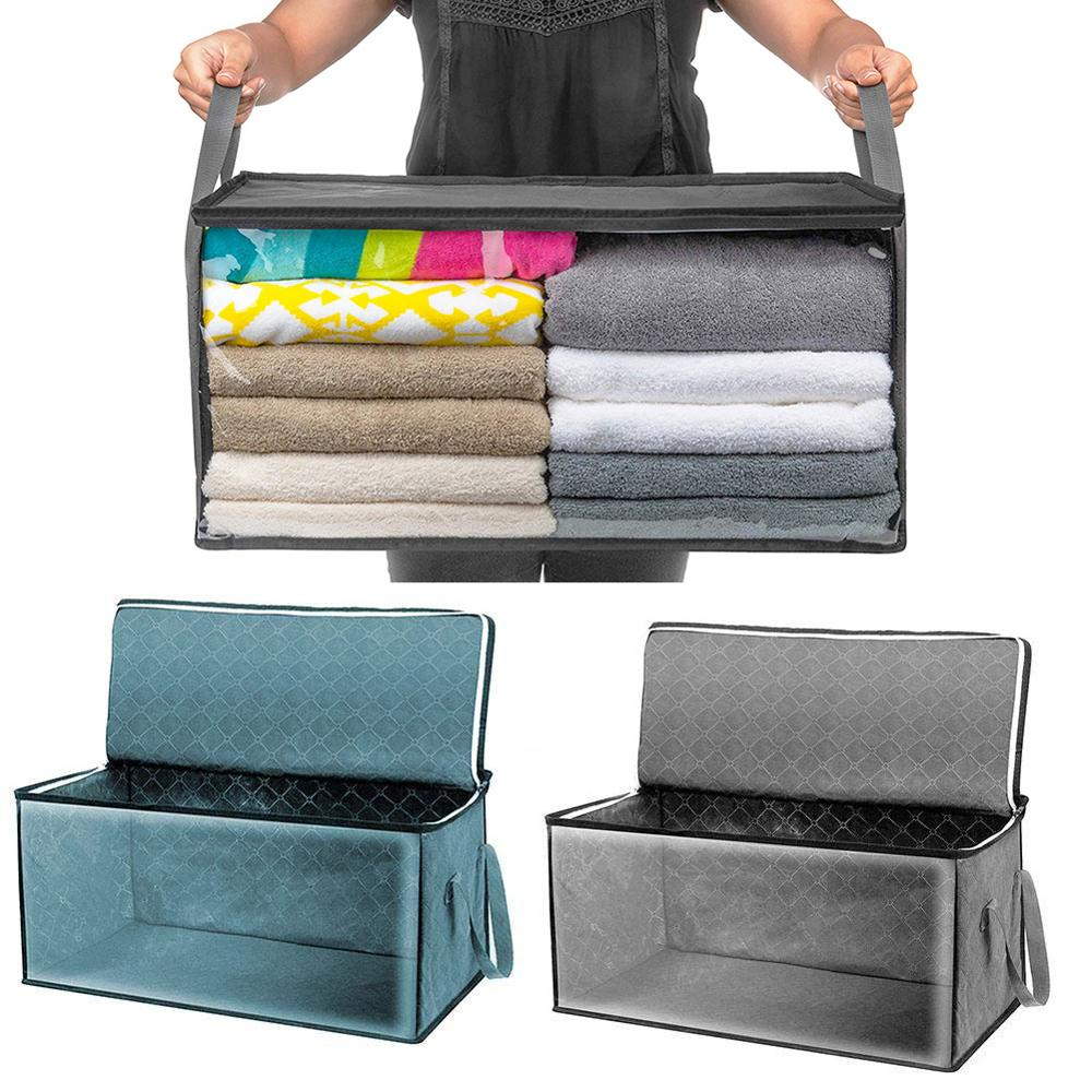 2 Pcs Clothes Storage Box Non-Woven Fabric Folding Quilt Clothes Organizer Dust-Proof Moisture-Proof Bag With Reinforced Handle