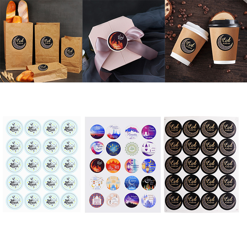 60/120Pcs Eid Mubarak Paper Sticker Lable Seal Gift Bag Candy Box Sticker Islamic Muslim Ramadan Mubarak Decoration Supplies