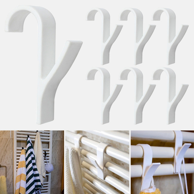 6pcs White High Quality Hanger For Heated Towel Radiator Rail Bath Hook Holder Clothes Hanger Plegable Scarf Hanger