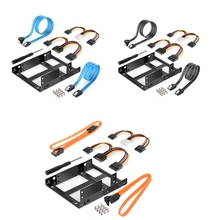 2.5 to 3.5 Inch Dual Hard Disk Metal Bracket Adapter HDD Holder with Double SATA & Power Cable for Desktop