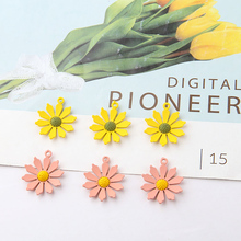 10pcs New Trendy Fresh Earrings for Women Girls Frosted Spray Painting Sunflower Small Flower Pendant Zinc Alloy Plant hot 10pcs zinc alloy plating silver plum flower deer