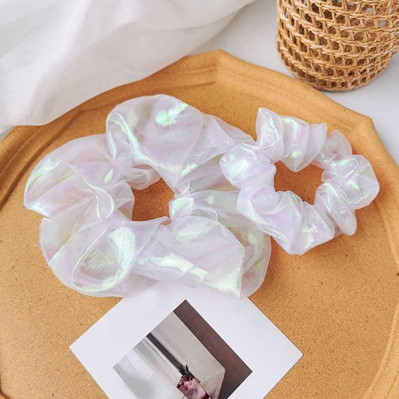 ใหม่เลเซอร์Mermaid Scrunchiesผมแหวนสะท้อนแสงสีผมผูกเชือกผู้หญิงผู้ถือหางม้าอุปกรณ์เสริมผมหญิงHairbands