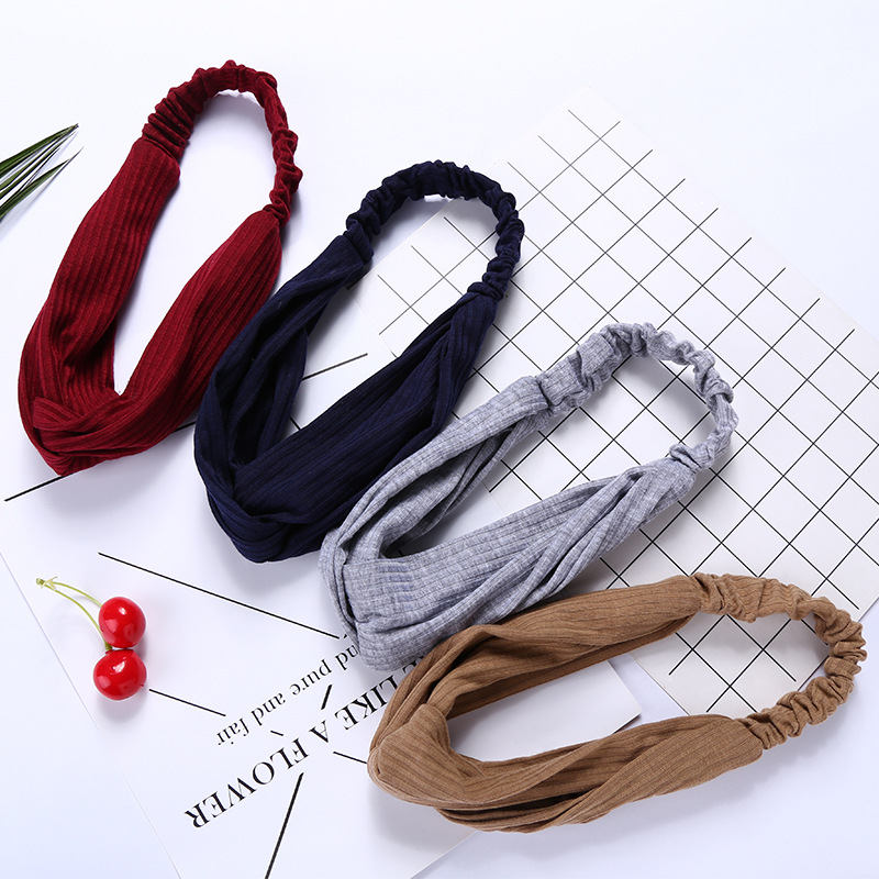 Women's Cross Knot Headbands Korean Style Solid Color Simple Sport Elastic Hair Bands Hair Hoop Turban Girls Hair Accessories