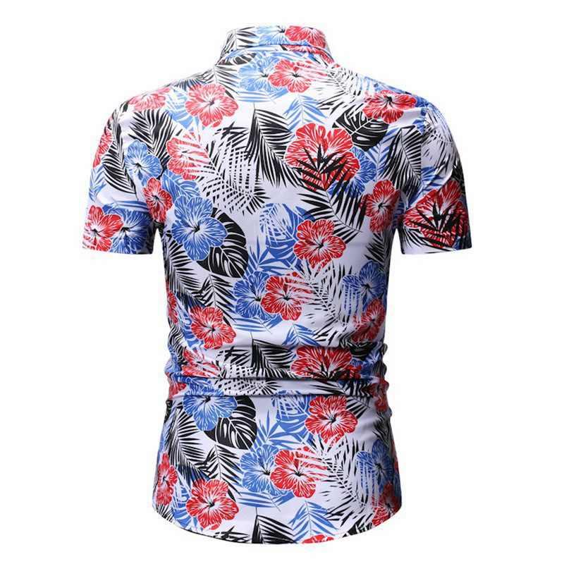 2019 hommes chemise nouvelle mode été décontracté hommes coupe ajustée à manches courtes imprimé col montant bouton chemise haut chemisier Homme Camisas