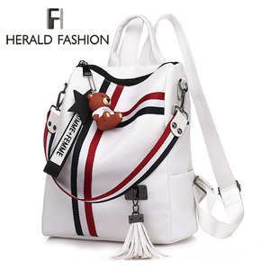 2020 New Women Bags Retro Fashion Zipper Ladies Backpack PU Leather High Quality School Bag Shoulder Backpack for Youth Bags(China)