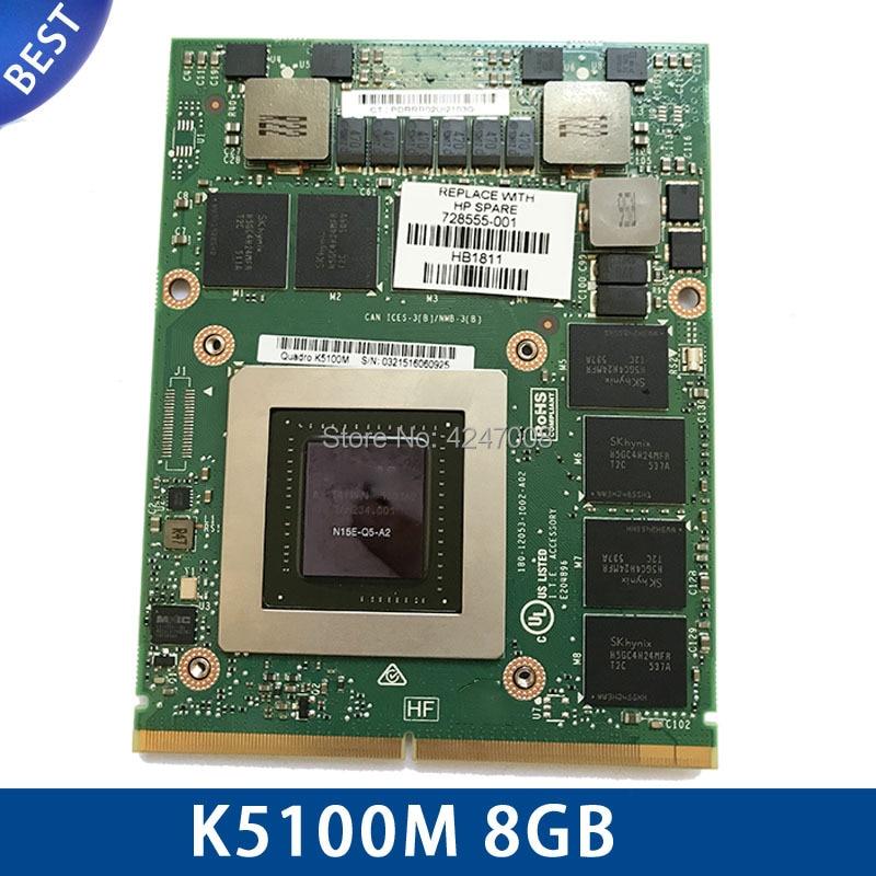 Original K5100M K5100 8GB For DELL M6700 M6800 HP 8770W ZBOOK 17 G1 G2 N15E-Q5-A2 CN-034P9D Video Graphic Display Card