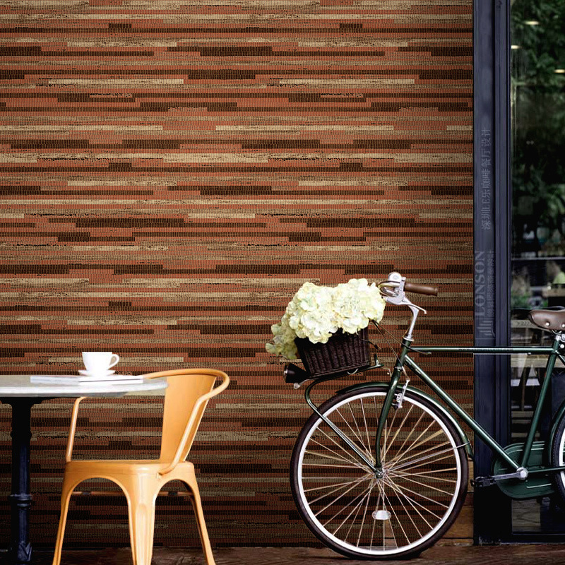 Bar Restaurant Cafe Clothing Store Industrial-Style Wallpaper Retro Nostalgic Cool Straw Wood Grain Wallpaper
