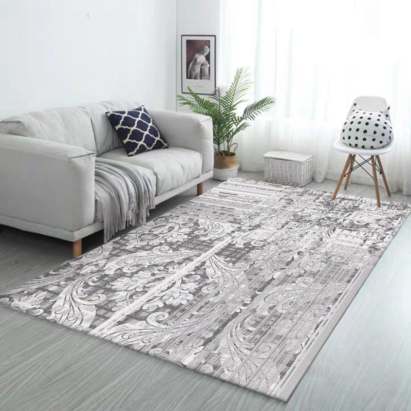 Nordic Abstract Area Rug Striped Floral Grey White Carpets Fashion Modern Kitchen Living Room Bedroom Bedside Non-Slip Floor Mat