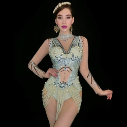 New Sparkly Pearls Rhinestones Bodysuit Women's Birthday Celebrate Party Dress Evening Bar Stage Outfit Singer Dance Costume