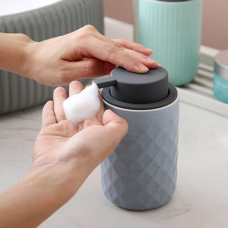 Nordic Ceramic Soap Dispenser Lotion Bottle Hand Sanitizer Bubble Bottle  Bathroom Shower Gel Portable Bottle for Home or Hotel