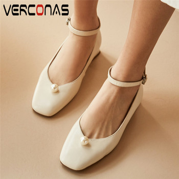 VERCONAS Women Lace Up Mary Jane Pearl Genuine Leather Square Toe Slippers Basic Shoes Sandals High Heels Summer Shoes Woman
