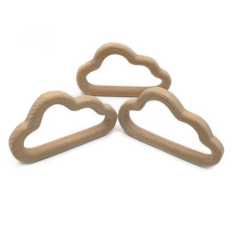 DIY Cartoon Cloud Natural Beech Wooden Teether Pacifier Chain 3C Safety  Certification Wooden Baby Teether Toys For Newborn Gift