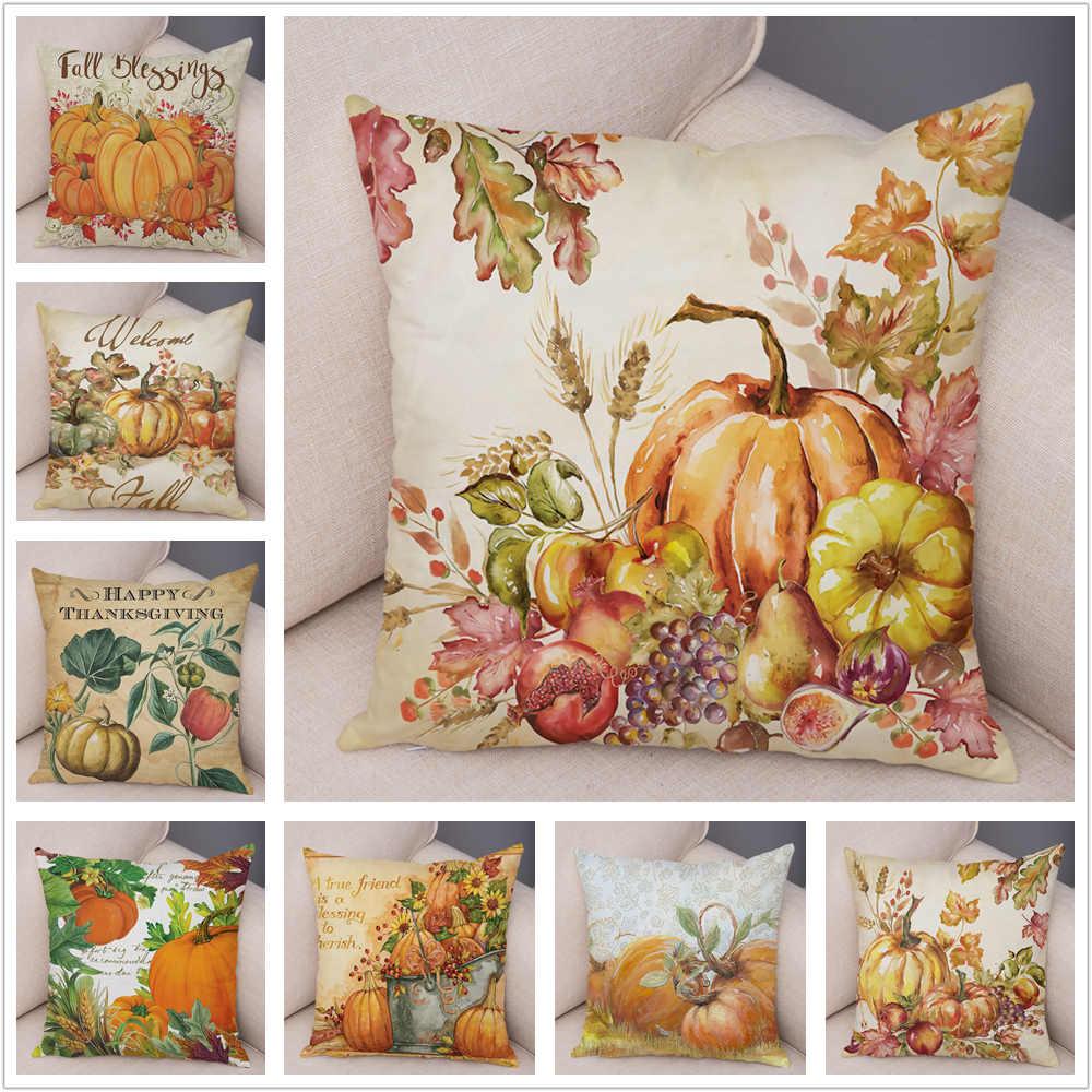 Watercolor Colorful Labu Bantal Super Lembut Pendek Mewah 45*45 Cm Dekorasi Tanaman Kaktus Bantal Cover untuk Mobil sofa Sarung Bantal