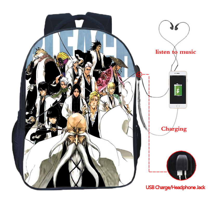 Beautiful BLEACH USB Charge Backpack Men Women Boys Girls Rucksack Fashion USB Charging Backpack USB Daily Backpack in Backpacks from Luggage Bags