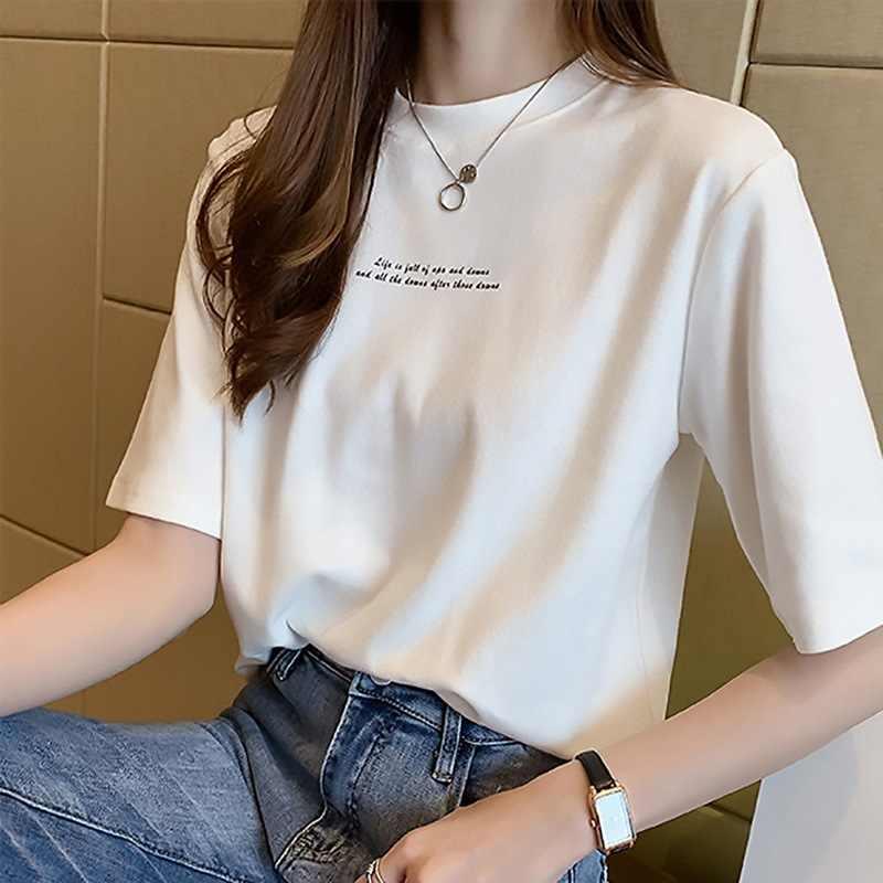 T 셔츠 여성 t-셔츠 2020 옷 여성 한국어 야생 반팔 크루 넥 느슨한 편지 인쇄 t 셔츠 여성 WBX105