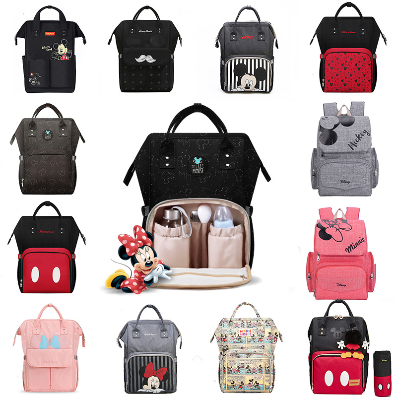 Disney USB Diaper Bag Backpack Mummy Maternity/Nappy Bag Large Capacity Baby Mickey Mouse Travel  Nursing Bag For Baby Care Bag