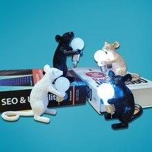 Art design resina animale mouse luce notturna regali per gatti decorazioni per desktop lampada per Mouse LED camera dei bambini ornamenti da letto lampade da tavolo dorate
