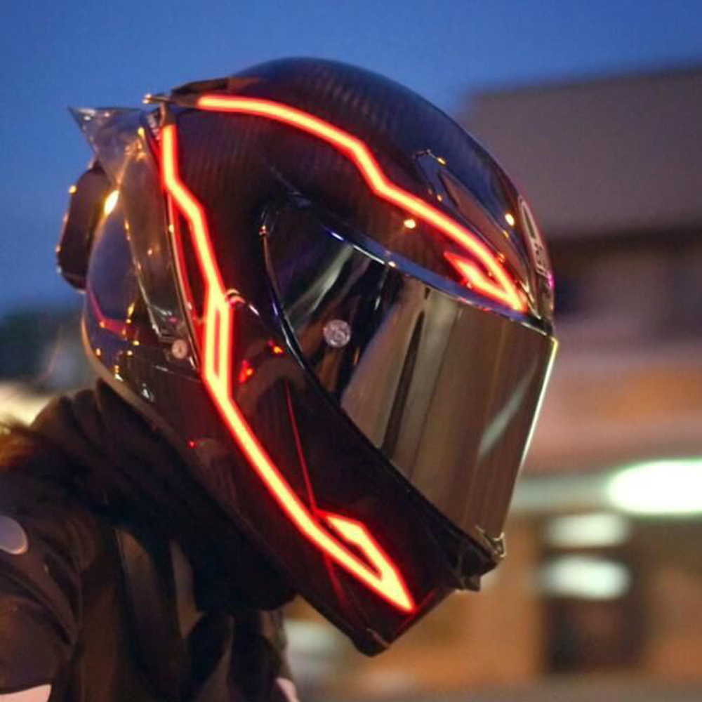4PCS Motorcycle LED Night Riding Signal Helmet EL Cold Light 4 Mode Helmet Led Lights Strip Kit Bar Accessories Light Decoration