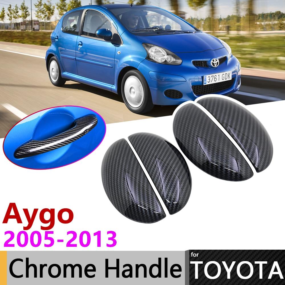 Black Carbon Fiber Door Handle Cover For Toyota Aygo Mk1 2005 2013 2009 2010 2011 2012 Car Accessories Stickers Trim Set Chrome Car Stickers Aliexpress
