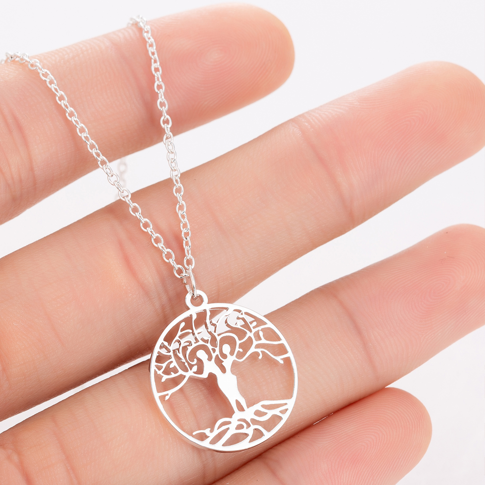 Hfarich <font><b>Couple</b></font> <font><b>Jewelry</b></font> Gifts Stainless Steel Vintage Antique Lovers Hug Tree of Life Women Femme Statement Necklaces image