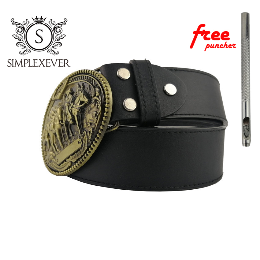 Cowboy Belt Buckle Fashion Brass Belt Buckles for 4cm Wide Belt Men Jeans Accessories Metal Men's Belt Buckles