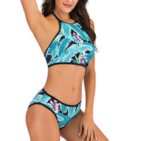 Vestido de baño bikini tropical halter push up 1