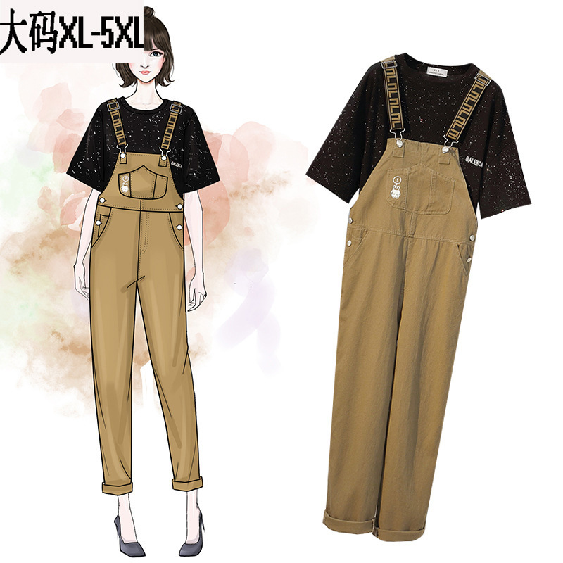Summer Wear New Style 2019 Large Size Dress Large GIRL'S By Age Star T-shirt Casual Capri Suspender Pants Two-Piece Women's