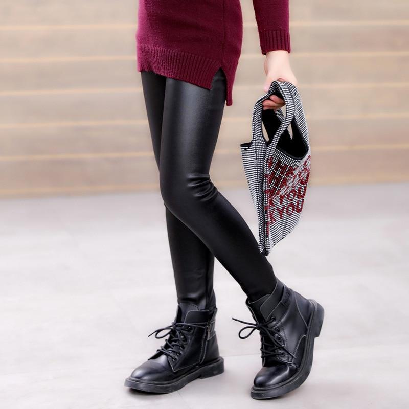 Winter Girls Leather Pants Thick Velvet PU Leather Children's Leggings Kids Pencil Pants Infant Warm Trousers Slim Pant Casual 4